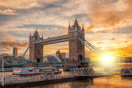 Garden Poster London Tower Bridge against colorful sunset in London, England, UK