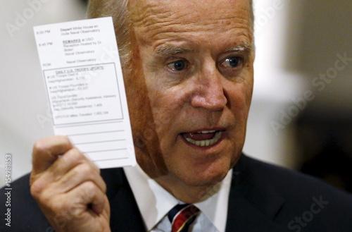 U S  Vice President Biden shows tallies of U S  troops