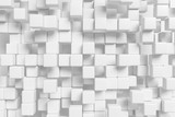 Many white cubes abstract 3d background