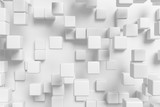 Abstract white cubes background 3d