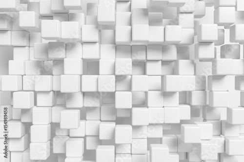 Many white cubes abstract 3d background - 154989458