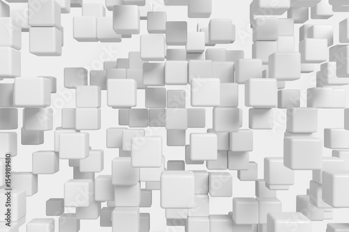Flying white cubes abstract 3d background - 154989480