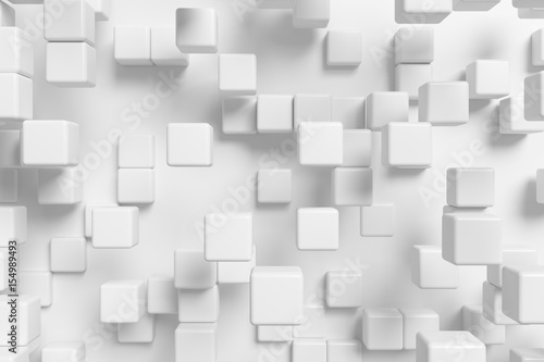 Abstract white cubes background 3d - 154989493