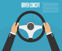 Hands Holding Steering Wheel. ...