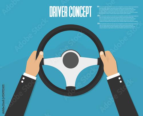 Hands holding steering wheel. Vector illustration. Driver Fototapet
