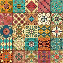 Fototapeta Vintage Seamless pattern with portuguese tiles in talavera style. Azulejo, moroccan, mexican ornaments.