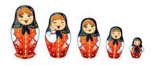 Russian Dolls Matrioshka. Five Russian Nested Doll, Babushka Doll, Russian Souvenir, Present.