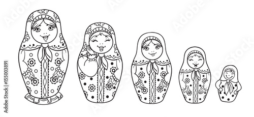 Photo Russian Dolls Matrioshka Outlined for coloring book