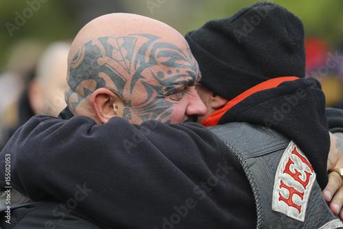 Hells Angels hug during the funeral of Giessen Hells Angels