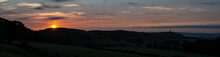 Sunrise Over Ulverston, Cumbria With Sir John Barrow Monument On Hoad Hill