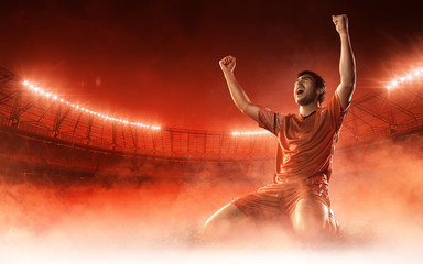 Fototapeta na wymiar soccer player on soccer stadium celebrating a goal on red smoke background
