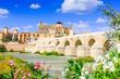 Leinwanddruck Bild - Cordoba, Spain. The Roman Bridge and Mosque (Cathedral) on the Guadalquivir River.