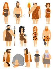 Cartoon primitive people character set vector protoman neanderthal caveman primeval family evolution illustration