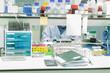 Female Muslim scientist is experimenting in laboratory