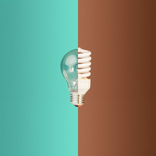 Old And New Light Bulbs Together