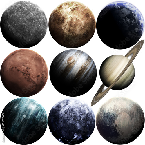 Foto op Plexiglas Nasa Awesome quality planets of solar system isolated on white. Elements of this image furnished by NASA