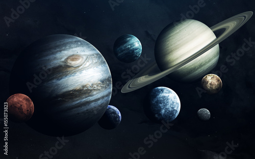 Deurstickers Nasa Planets of Solar system. Earth, Mars, Jupiter and others. Elements of this image furnished by NASA