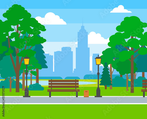 Photo Stands Kids city park with trees benches street light