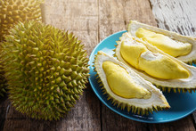 Durian King Of Fruit On Blue P...