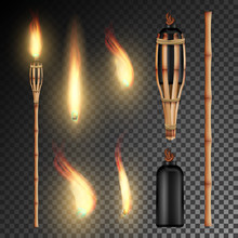 Burning Beach Bamboo Torch. Burning In The Dark Transparent Background Realistic Torch With Flame. Vector Illustration