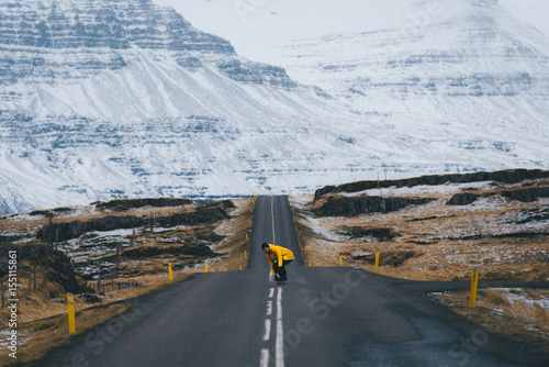 Skater in the Icelandic Landscape in front of a mountain Poster