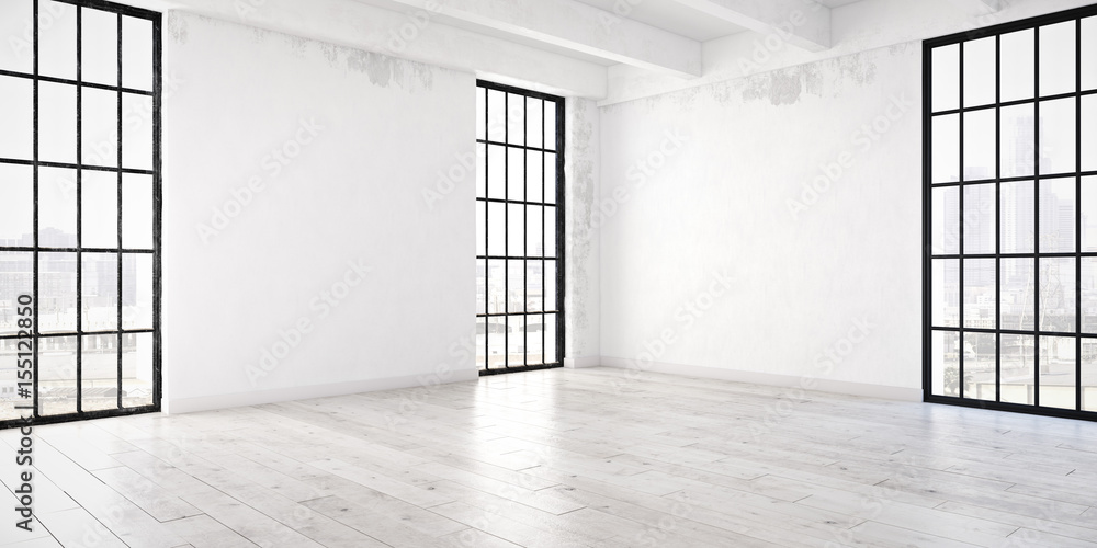 Fototapeta empty loft apartment. 3d rendering