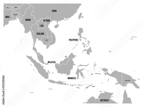 South East Asia political map. Grey land on white background with ...