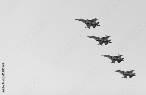 Photo  Russian fighters in the sky on the feast of victory day on 9 may