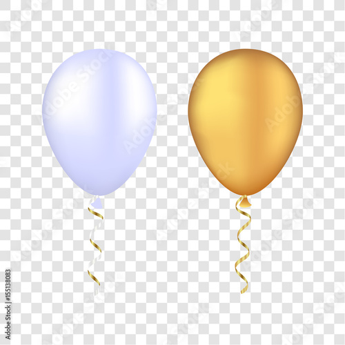 Vector white and gold balloons on a transparent background. 3d realistic happy holidays flying air helium balloon.