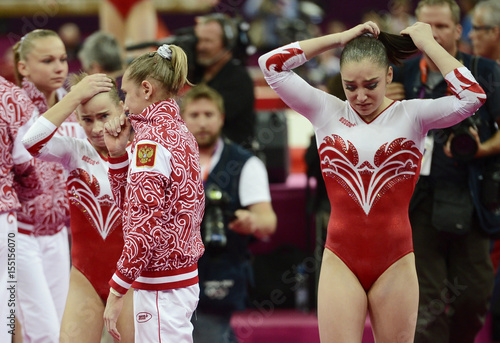 Russia's Mustafina reacts after missing out on the gold