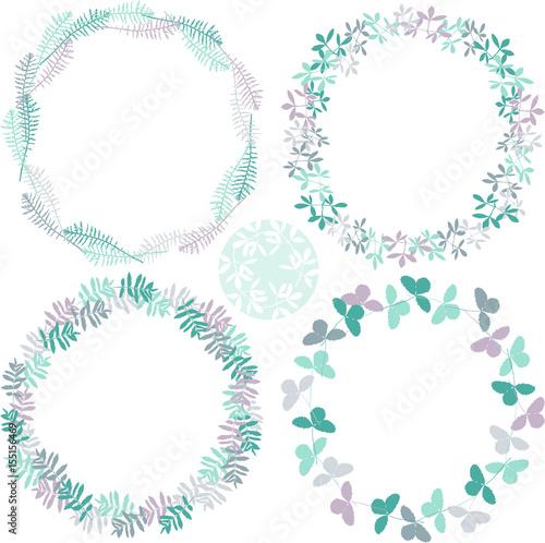 Photo sur Toile Papillons dans Grunge hand drawn summer elegant and romantic graphic flower wreath