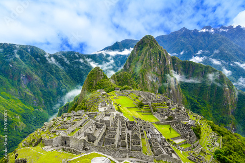 Photo Stands South America Country Overview of Machu Picchu, agriculture terraces and Wayna Picchu peak in the background