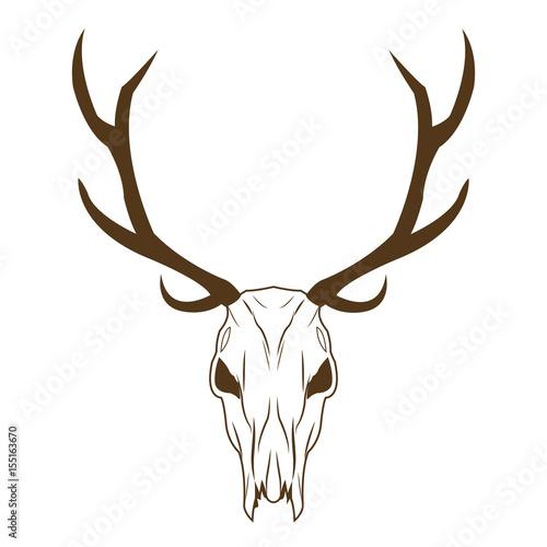 Keuken foto achterwand Waterverf Illustraties deer skull in tribal style. animal skull with ethnic ornament. wild and free design. vector illustration.