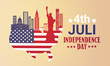 Silhouette United States Map With Landmarks Independence Day Holiday 4 July Banner Flat Vector Illustration