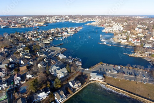 Fotografie, Obraz  Aerial view of Rocky Neck and Gloucester Harbor in City of Gloucester, Cape Ann, Massachusetts, USA