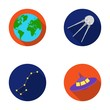Planet Earth with continents and oceans, flying satellite, Ursa Major, UFO. Space set collection icons in flat style vector symbol stock illustration web.