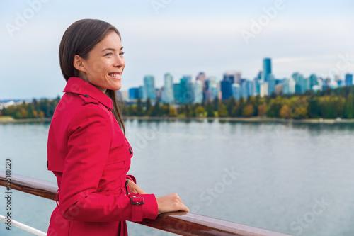 Cruise passenger enjoying view leaving Vancouver city on Alaska cruise travel Poster