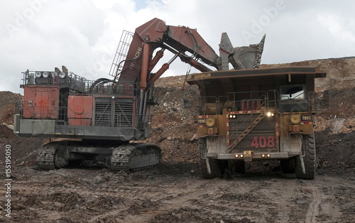A dump truck is loaded with gold ore at Barrick Gold