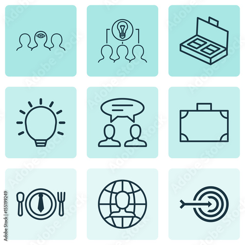 Business Management Icons Set  Collection Of Dialogue