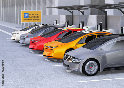 Foto op Canvas New York TAXI Electric cars charging at EV charging station. Cars' roof with colorful graphic design. 3D rendering image.