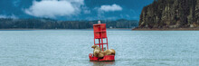 Alaska Nature Wildlife Sea Lions Banner Landscape Cruise Travel. Stellar Seals On Buoy In Juneau Sleeping In Auke Bay.