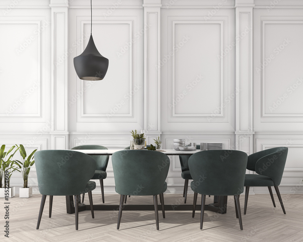 Fototapety, obrazy: 3d rendering classic dining table in white dining room
