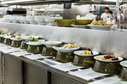Aluminium Prints Buffet, Bar Food in Pass Through Window of Commercial Kitchen
