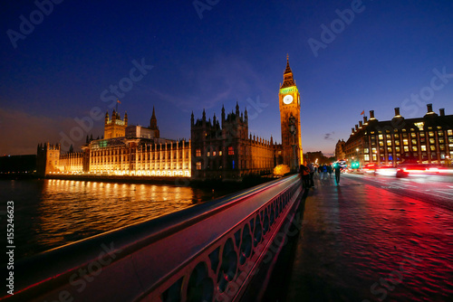 Foto op Canvas Londen rode bus Big Ben and Westminster abbey in London, England