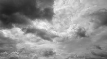 Gloomy Overcast Sky. Clouds Flying Over Horizon, Cloudscape.