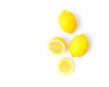 Closeup Top View Fresh Lemon F...