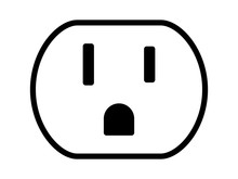 NEMA 5-15 Grounded Power Outlet / Ac Socket Line Art Vector Icon For Apps And Websites