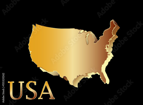 U.S.A 3D map symbol Gold and shine United States of America ... on gold in vermont, gold in california, gold in puerto rico, gold in united states, gold in turkey, gold in pennsylvania, gold in north dakota, in the civil war states map, gold in indiana, copper mining in the united states, us mining map, gold mines in usa, virginia gold mining, gold mining in alaska, gold in arkansas, gold country, gold deposits in usa, landslide united state map, latin america map,