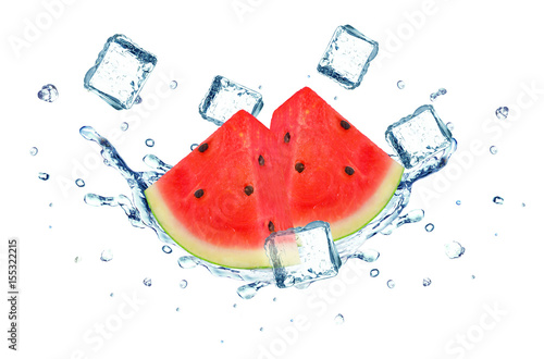 Watermelon splash water and ice