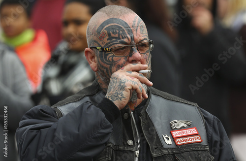 A Hells Angels member attends the funeral of Giessen Hells Angels